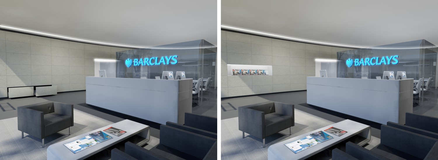 barclays product presentation in wall