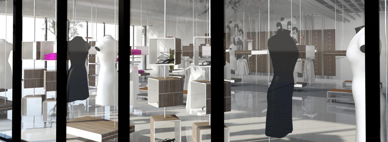 boss retail design winkel concept van binnen naar buiten gezien window presentatie sales window