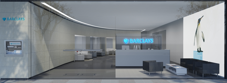 Barclays bankshop transparant winkel concept ontwerp. winkel ontwerp Retail design