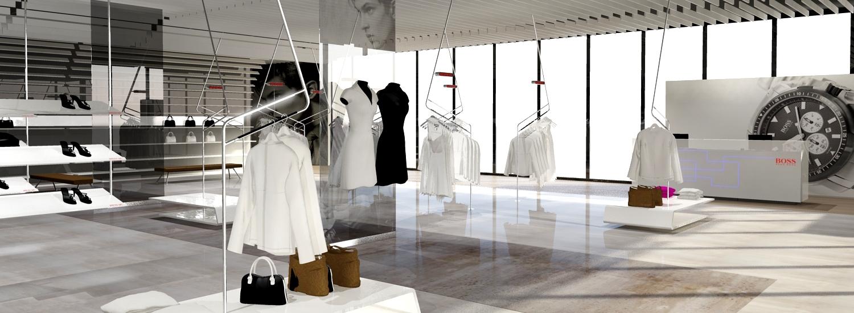 boss premium winkel concept retail design 3/4 view frans van rens vanrensdesign