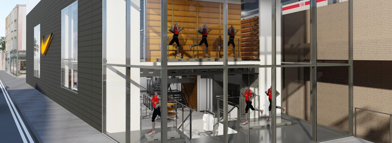 nike london factory store hoofdingang en facade van glas ontwerp en visualisatie