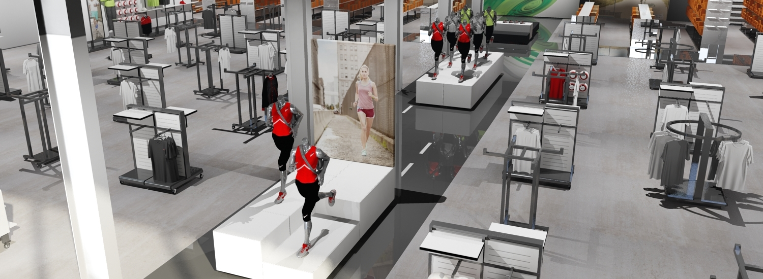 nike madrid factory store catwalk presentation bird view