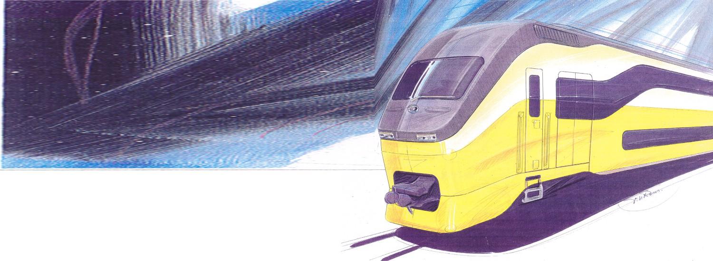 trein NS concept schets exterieur dubbeldekker trein nederlandse spoorwegen VIRM regiorunner artist impression frans van rens