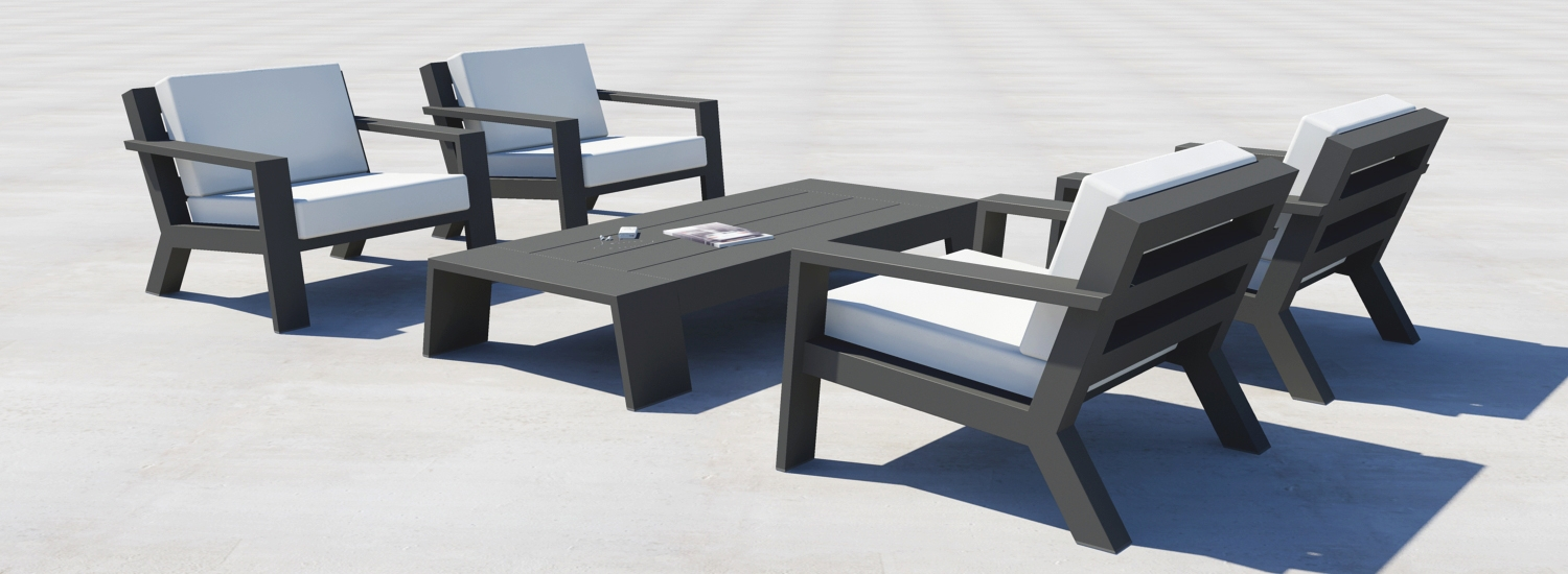ontwerp rendering borek viking lounge set in aluminium antraciet